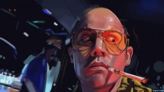 Art artwork cigarettes hunter s. thompson fan wallpaper