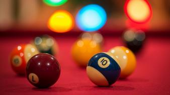 Balls bokeh billiards pool table Wallpaper