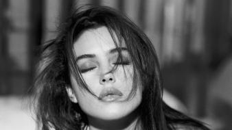 Bellucci actresses lips grayscale monochrome closed eyes wallpaper