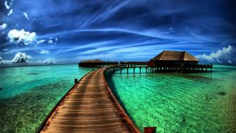 Blue ocean clouds landscapes nature skies footpath wallpaper