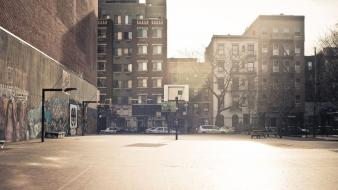Buildings usa new york city basketball court wallpaper