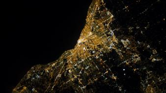 City lights nighttime cleveland satellite image wallpaper