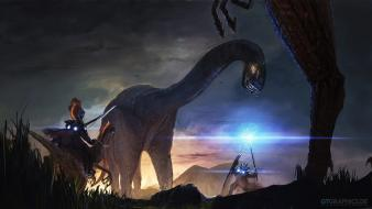 Dinosaurs fantasy art magic wand bows artwork hunters wallpaper