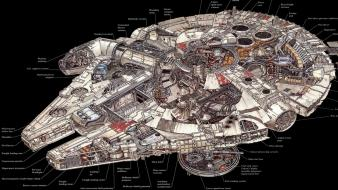 Falcon millenium schematic plans wallpaper