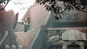 Fiction artwork temple at-st tie fighter endor wallpaper