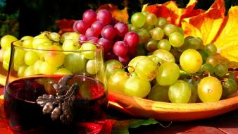 Grapes wine autumn leaves wallpaper