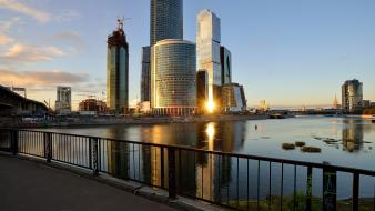 Landscapes cityscapes russia urban buildings moscow morning waterscapes Wallpaper