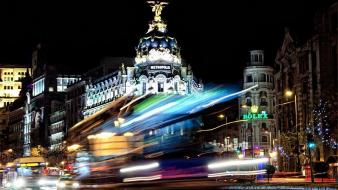 Lights traffic spain madrid city long exposure cities wallpaper