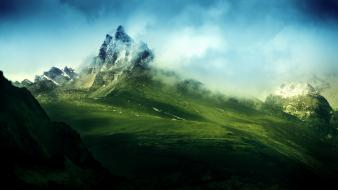 Mountains clouds snow grass plains skies 2 Wallpaper