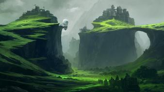 Mountains landscapes fantasy art digital artwork portuguese cities wallpaper