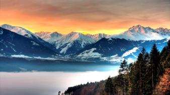 Mountains snow trees cold fog peaks lakes wallpaper