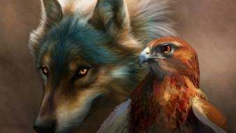 Nature animals eagles wolves Wallpaper