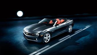 Night chevrolet camaro convertible full moon wallpaper