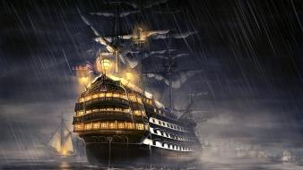 Night fantasy art in the rain battleships wallpaper
