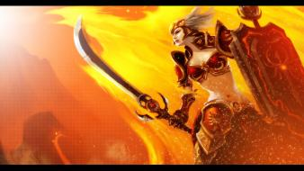 Of legends weapons shield swords riot leona wallpaper