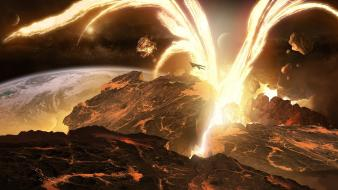 Outer space explosions volcanoes lava digital art wallpaper