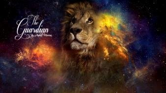 Outer space the guardian lions photomanipulation wallpaper