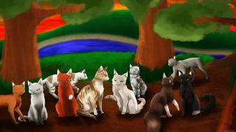 Paintings cats animals wallpaper