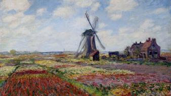 Paintings fields tulips windmills claude monet impressionism wallpaper