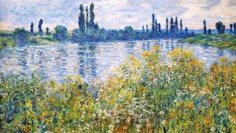 Paintings flowers rivers seine claude monet impressionism wallpaper