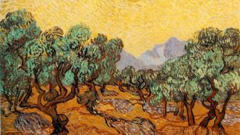 Paintings trees vincent van gogh wallpaper