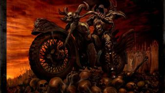 Skulls death scary hell motorbikes evil wallpaper