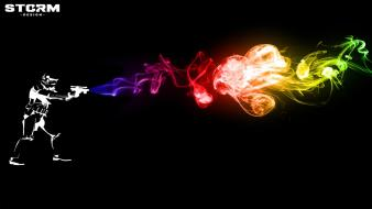 Star wars guns storm smoke rainbows trooper wallpaper