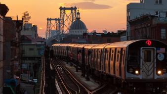 Sunset cityscapes new york city brooklyn Wallpaper