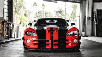 Viper racing cars stripes red and black wallpaper