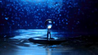 Water close-up blue waves drop widescreen splashes wallpaper