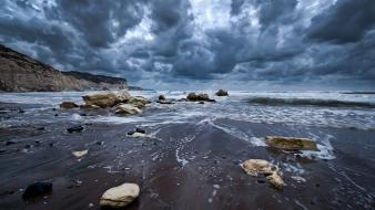Water clouds beach sand waves skies wallpaper