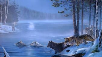 Water nature trees animals fog wolves wallpaper