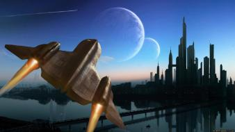 Water planets bridges spaceships science fiction cities wallpaper