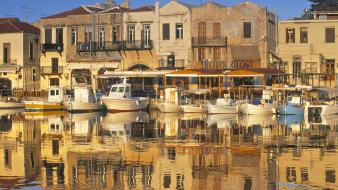 World architecture buildings boats greece reflections crete wallpaper