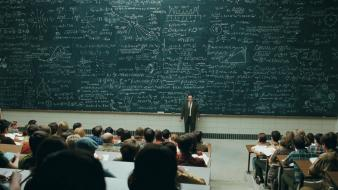 Auditorium blackboards college students university Wallpaper