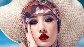 Bandana straw hat nail polish red lips wallpaper