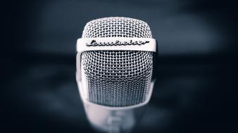 Blue backgrounds sennheiser microphones wallpaper