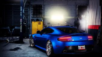 Blue indoors cars vehicles aston martin vantage wallpaper