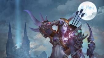 Bows artwork dark skin sylvanas windrunner archer wallpaper