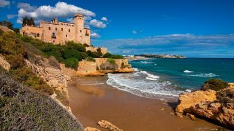 Catalonia sea tamarit castle costa dorada balearic wallpaper