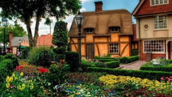 Cityscapes flowers garden old house wallpaper
