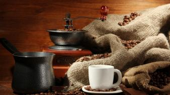 Coffee cups beans wallpaper