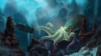Creatures fantasy art monsters octopuses sharks wallpaper