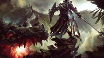 Dragons fantasy art armor artwork warriors wallpaper