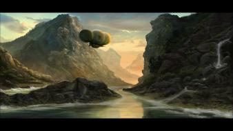Fantasy art amazon airship wallpaper
