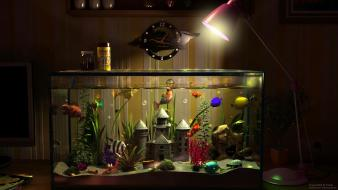 Fish clocks lamps tank digital art Wallpaper