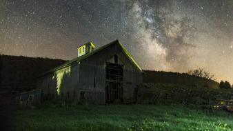 Galaxies desert grass milky way barn abandon wallpaper