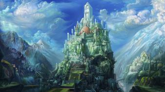Green nature castles fantasy art wallpaper