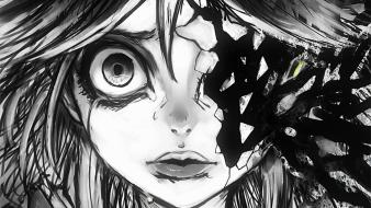 Hair shattered monochrome crying reiuji utsuho faces Wallpaper