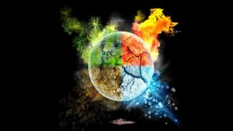 Ice fire earth elements wallpaper